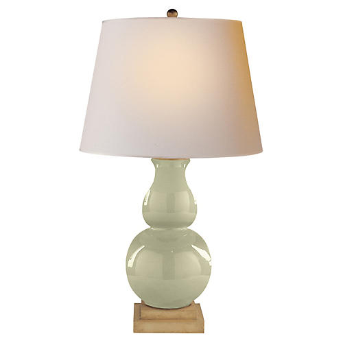 Gourd Form Table Lamp, Celadon