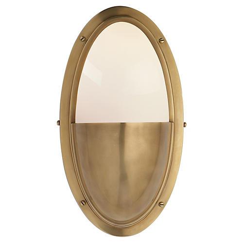 Pelham Oval Sconce, Antiqued Brass