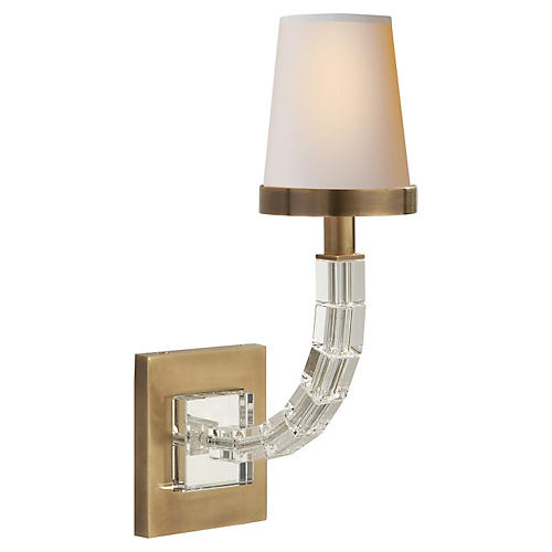 Cube Crystal Sconce, Antiqued Brass