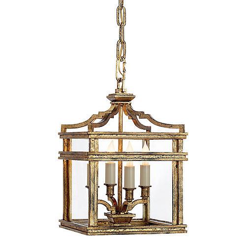 Mykonos 4-Bulb Mini Lantern, Gilded Iron