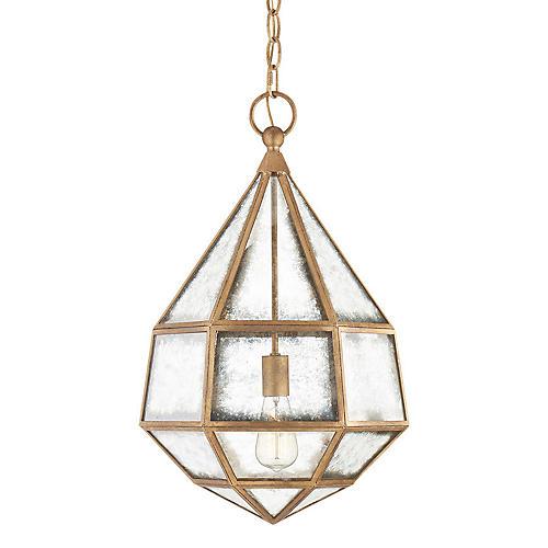Girard Hex Lantern, Gilded Iron