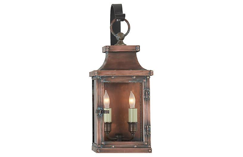 Bedford Outdoor Wall Lantern, Copper