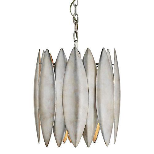 Hatton Four-Bulb Pendant, Silver Leaf
