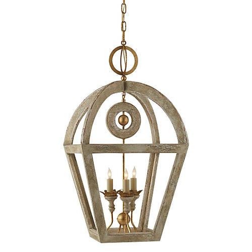 Nina 3-Bulb Wooden Lantern, Belgian Gild