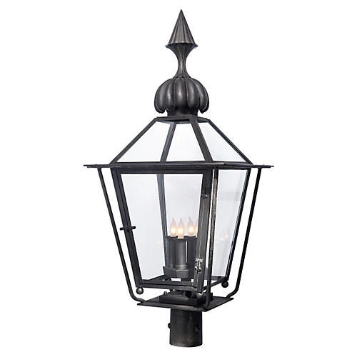 Audley Outdoor Post Lantern, Black