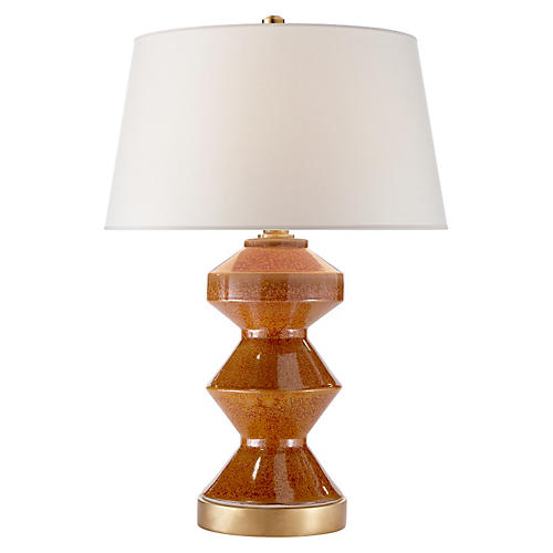 Weller Zig-Zag Table Lamp, Brown