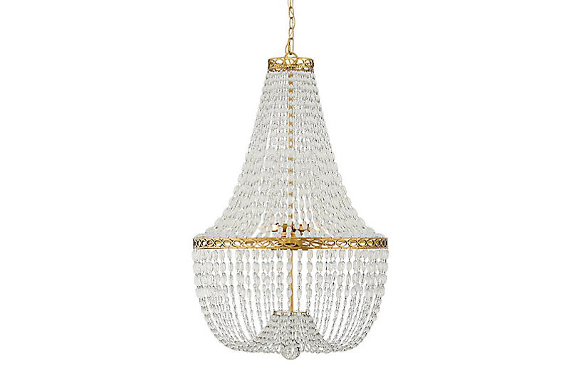 Linfort Basket-Form Chandelier, Brass