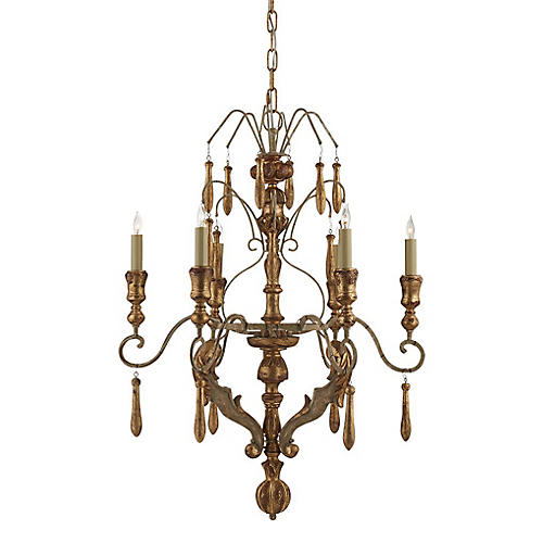 Katherine Medium Chandelier, French Gold