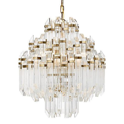 Adele Waterfall Chandelier, Brass