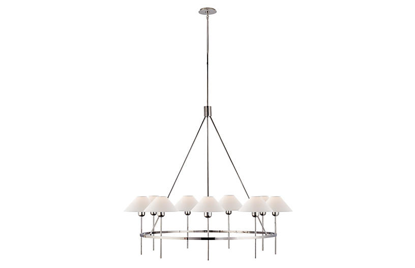 Hackney Large Chandelier, Nickel