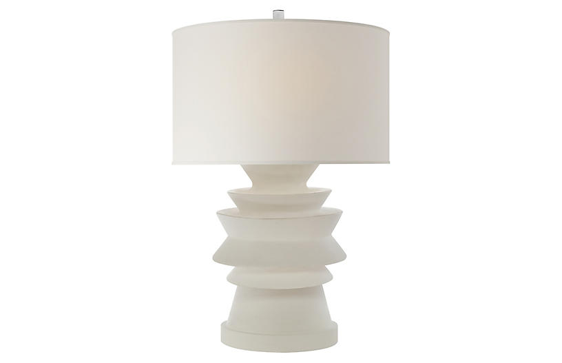 Stacked Disk Table Lamp, White