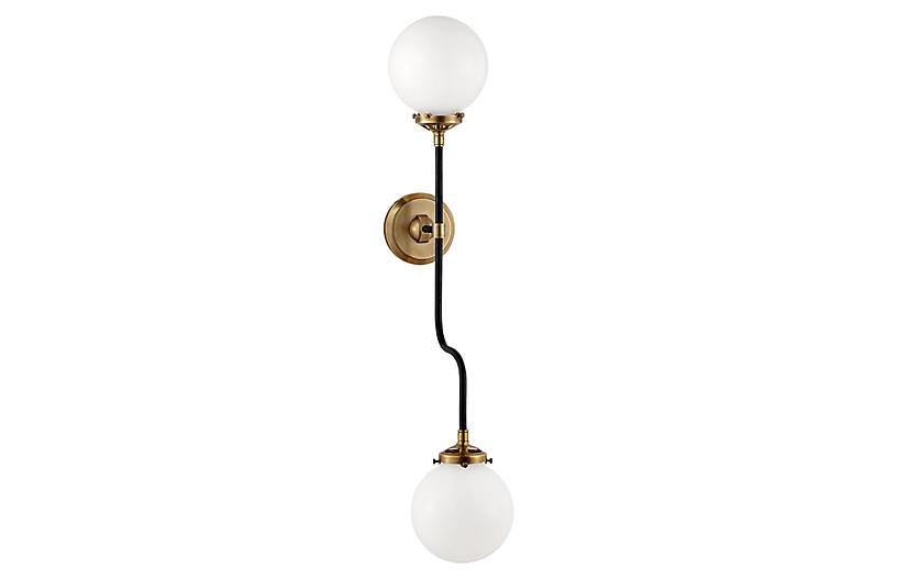 Bistro 2-Light Sconce, Antiqued Brass