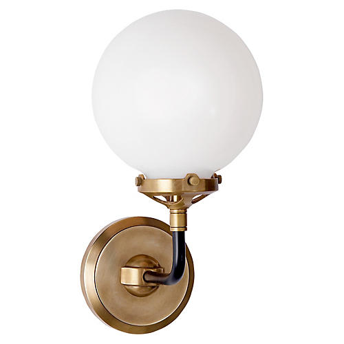 Bistro Single-Light Sconce, Antiqued Brass