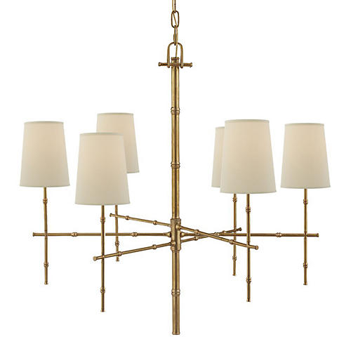 Grenol Medium Bamboo Chandelier, Antiqued Brass