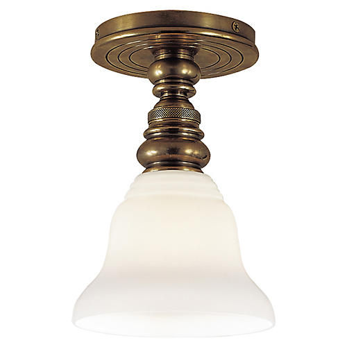 Boston Semi-Flush Mount, Brass/White