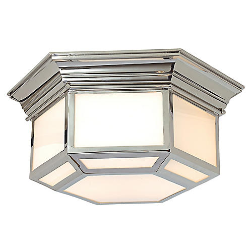 Cornice Flush Mount, Nickel/White