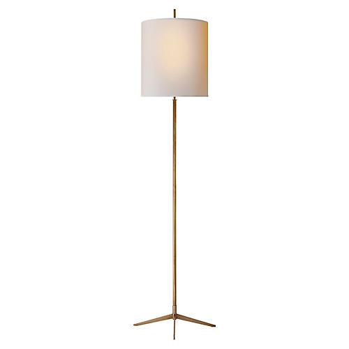 Caron Floor Lamp, Brass