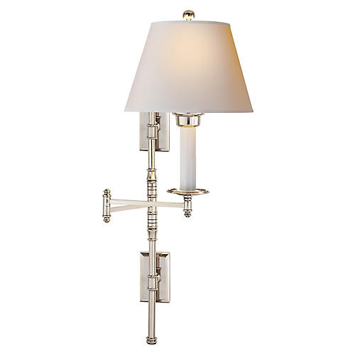 Dorchester Swing-Arm Sconce, Nickel/Natural