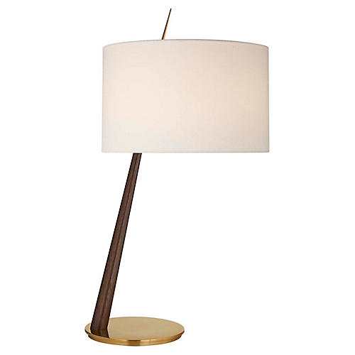 Stylus Large Angled Table Lamp, Dark Walnut