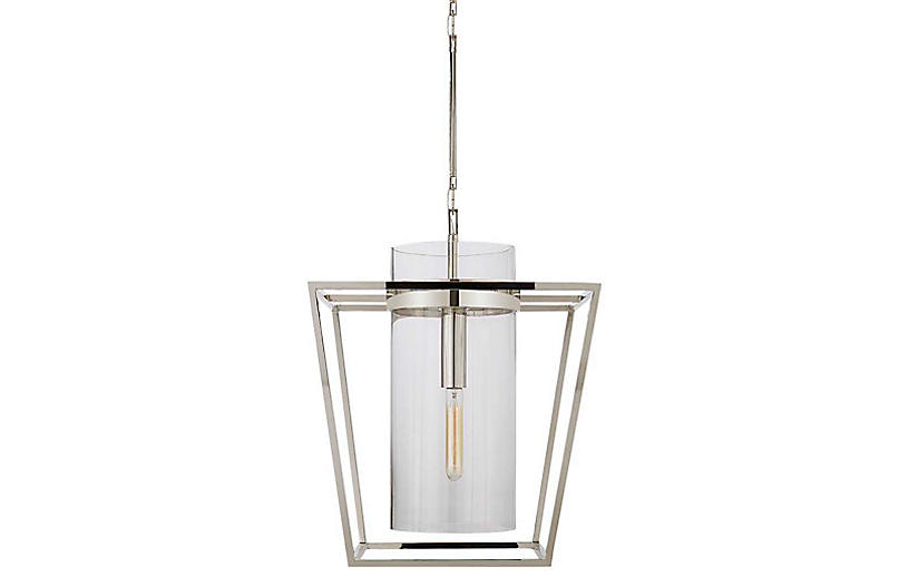 Presidio Small Lantern Pendant, Polished Nickel