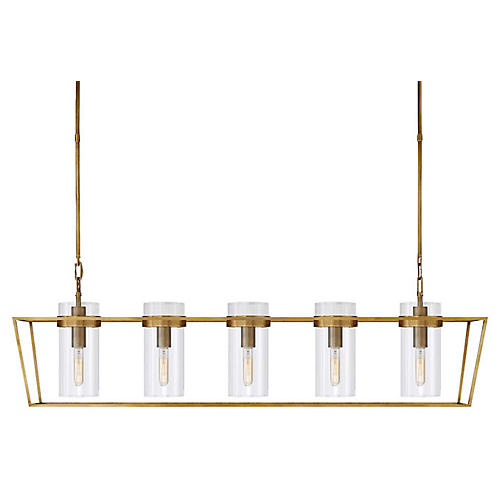 Presidio Large Linear Light, Antiqued Brass