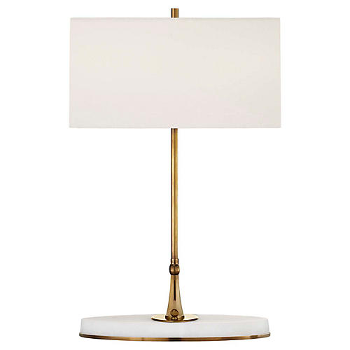 Casper Medium Table Lamp, Antiqued Brass/Alabaster