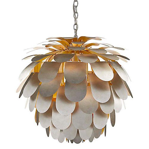 Cynara Large Pendant, Burnished Silver Leaf