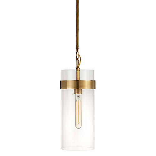 Presidio Small Pendant, Antiqued Brass