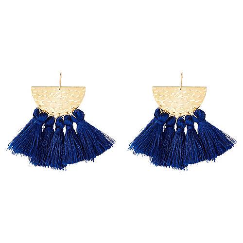 Sunrise Drop Earrings, Navy/Gold