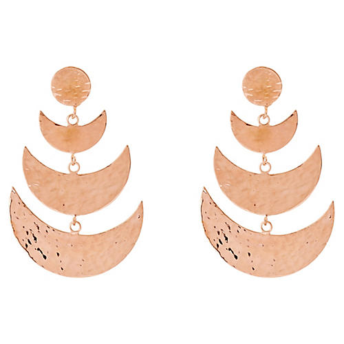 Half-Moon Cascading Earrings, Rose Gold