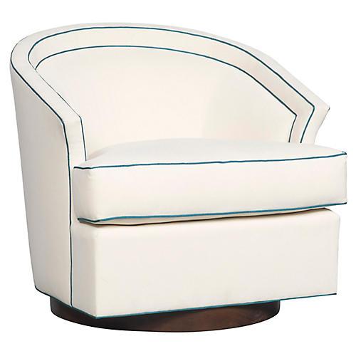 Sheena Swivel Accent Chair, Bone Crypton