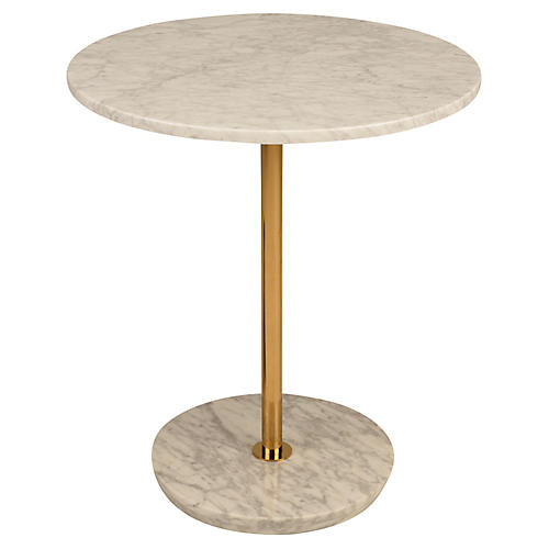 Aida Side Table, White/Gold