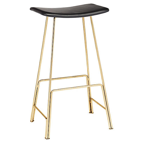 Kirsten Counter Stool, Black Leather