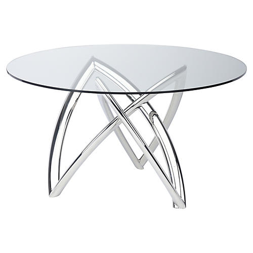 Martina Dining Table, Clear/Silver