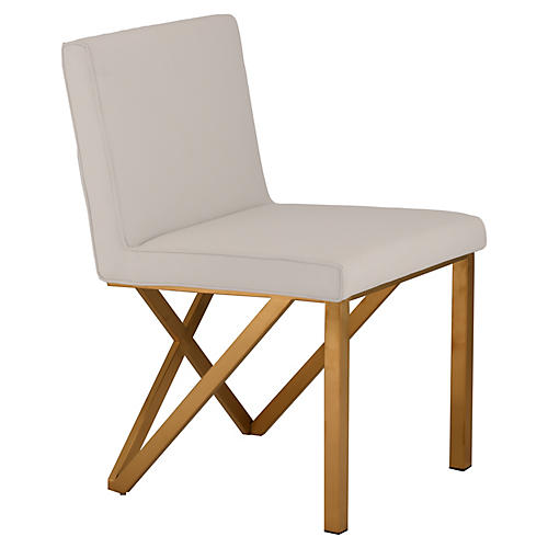 Talbot Side Chair, White/Gold