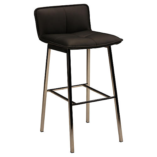 Sabrina Counter Stool, Black/Silver