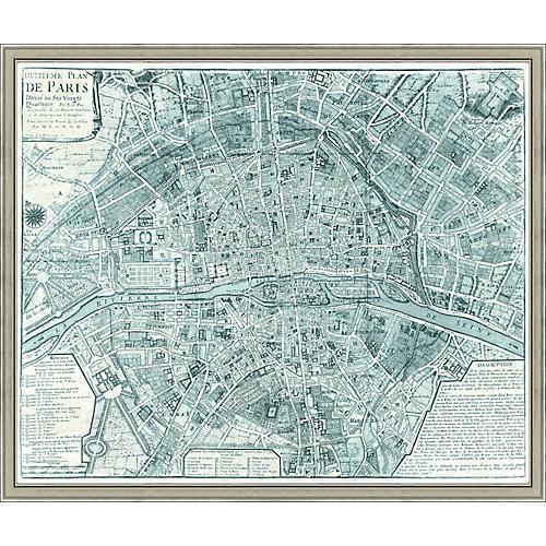 Map of Paris, Teal