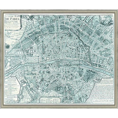 Map of Paris, Teal