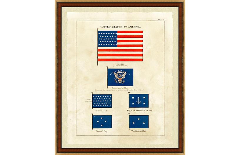 Nautical United States Flag Print I