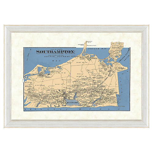 Blue-Toned Map of Southampton