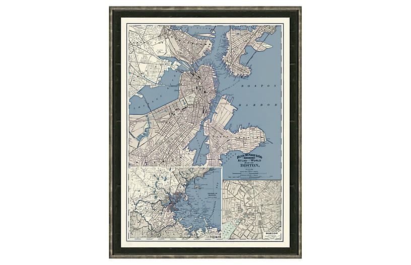 Blue-Toned Map of Boston