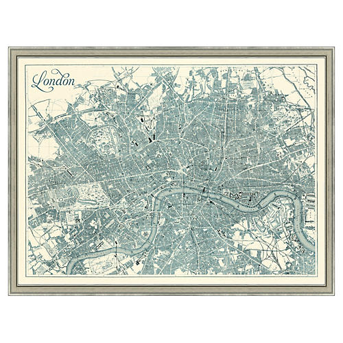Map of London, Teal