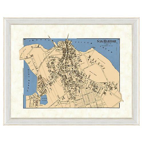 Blue Toned Sag Harbor Map