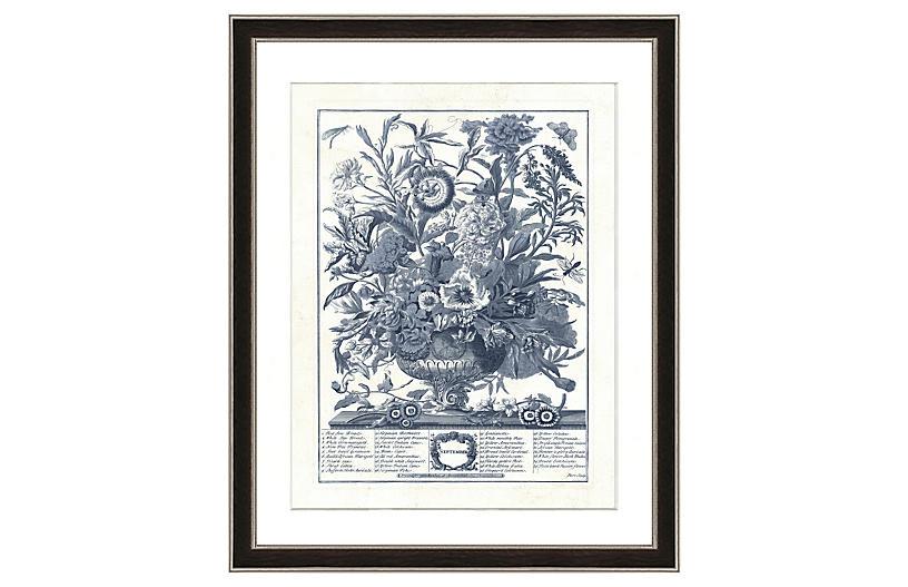 Navy Vase Botanical Print II