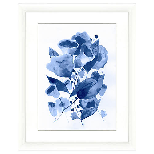 Navy Watercolor Botanical Print II