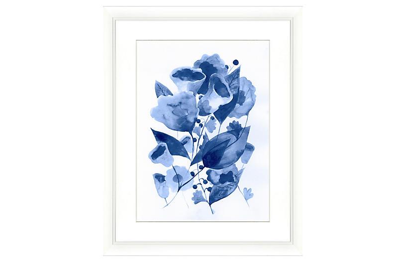 Navy Watercolor Botanical Print II