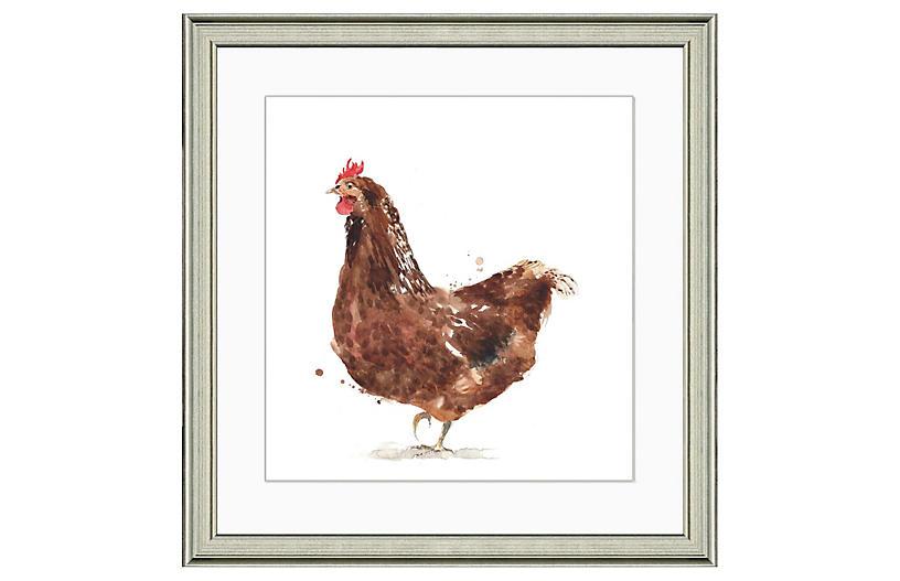 Watercolor Chicken Print I