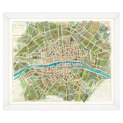 Watercolor Green Paris Map