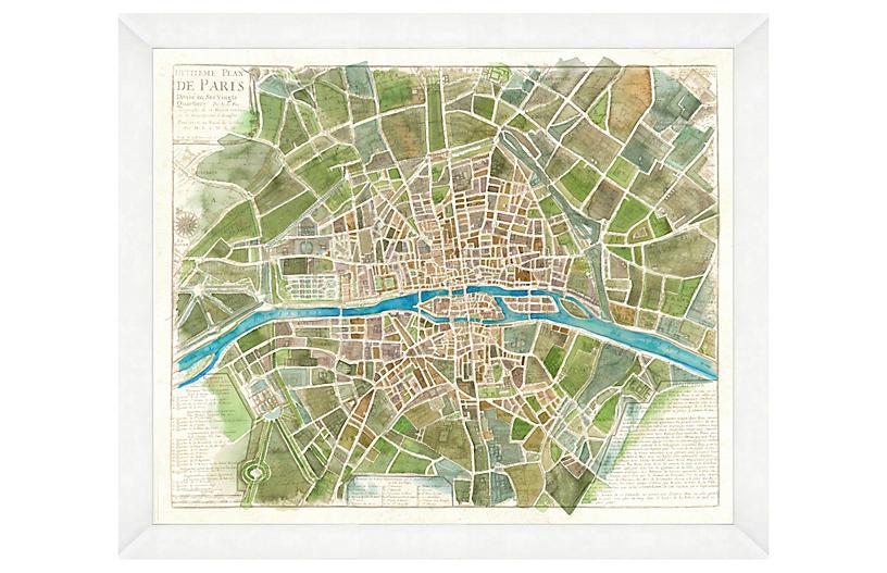Watercolor Green Paris Map