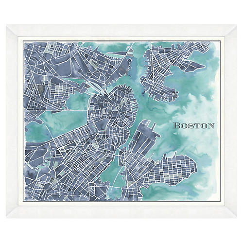 Watercolor Navy Boston Map